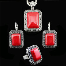 Vintage Style Tibetan Silver Plated RED TURQUOISE Necklace Ring Earrings Set