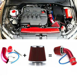 1 Set Red Universal Cold Air Intake Filter Induction Pipe Power Flow Hose System