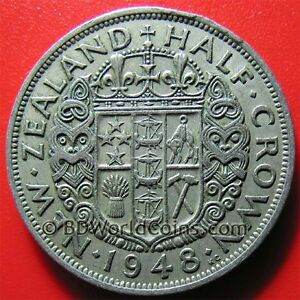 1948 NEW ZEALAND 1/2 CROWN GEORGE VI COLLECTABLE WORLD COIN COPPER-NICKEL 32mm