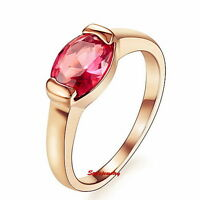 18k Rose Gold Plated Ruby Engagement Ring Made With Swarovski Crystal R37