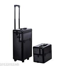 3 in 1 Aluminum Rolling Makeup Train Cases Cosmetic Organizer Storage Box Black