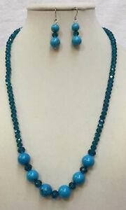 Necklace & Earrings Blue Swarovski Crystals & Turquoise Polished Stone Bead Set