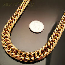 """12mm, 30"""" 18K Gold Plated Stainless Steel Snake Miami Cuban Chain Necklace 503G"""
