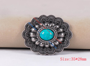 6PC 35*28MM Southwest Oval Horse Saddles Turquoise Antique Silver Finish Concho