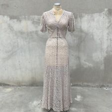 Vintage 1930s Off White Embroidered Floral Net Maxi Dress Short Puff Sleeves