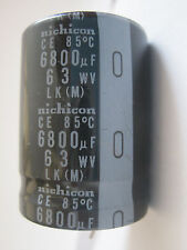 5 Nichicon LK series 6800uF 63V Snap in Electrolytic Aluminum Capacitors 85°C