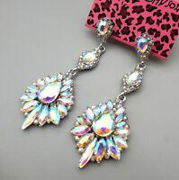 Betsey Johnson AB Glass Crystal Flower Drop Dangle Earrings