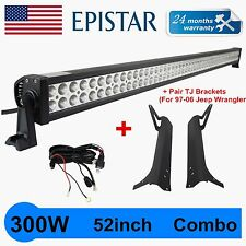 "52""300W LED Light Bar+97-06 Jeep TJ Wrangler Upper Mounting Brackets+Wiring QIN"