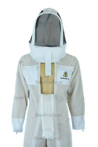 Unisex Ultra Ventilated 3 Layers Bee Suit, 2 Full Length Zippers, Astronaut Veil