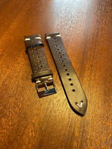 Genuine Quality Leather Racing Style Watch Strap Band 20mm Brown - Hand Made UK