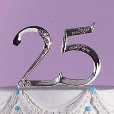 Wilton 25th Wedding Anniversary Cake Topper Silver Pick Retirement 1006-758