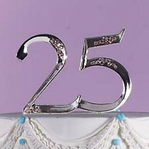 Wilton 25th Wedding Anniversary Cake Topper Silver #25 Pick Retirement 1006-758