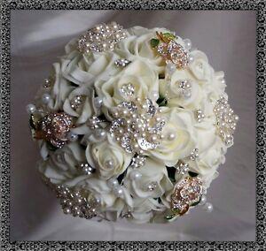 Brides Diamante & Pearl Ivory roses,  Brooch Vintage Posy Bouquet