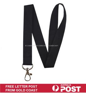Black Lanyard Fabric ID Keys Badge Clip Holder Name Tag Neck Strap Pocket Holder