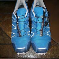 SALOMON Speedcross 4 Mens 12 Ford Blue Trail Running/Hiking Shoes Goretex/light