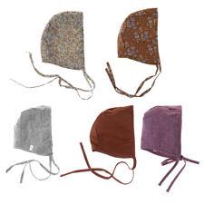 Kids Bonnet Baby Hat Floral Vintage Newborn Photography Double Side Linen Strap