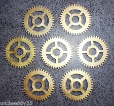 "Lot of 7 vintage clock brass gears wheels 24 mm 9/10"" Steampunk parts supplies"