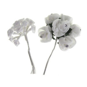 Fabric Rose Flowers Branch with Rhinestones, 4-Inch, 2-Piece