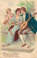 Romantic Couple Music Angel Embossed Postcard 03.43