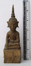 BLESSED Laos Dark Ages Teak Buddhist Temple Buddha Votive Relic Ornament 11""