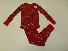 2 Piece Joe Boxer Girls Size 4 Snug Fitting Candy Cane Hearts Pajamas New