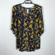 Umgee Blouse Size S Blue Yellow Floral Tunic 3/4 Sleeve Boho Cotton Blend Top