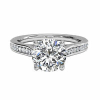 Round Cut 1.00 Ct Diamond Solitaire Engagement Wedding Ring 14K Real White Gold