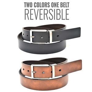 NYBC Preston Men's Reversible Casual Wear Vegan Faux Leather Belt, 35 MM Width
