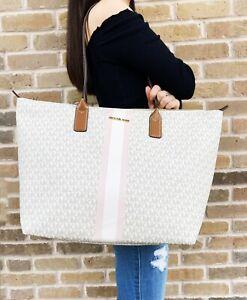 Michael Kors Travel XL Large Center Stripe Top Zip Tote Bag MK Vanilla Pink