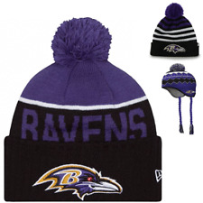 Baltimore Ravens NFL Sport Pom Earlaps Knit Hats Beanie Youth 6 - 12