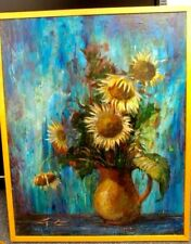 "VINTAGE CURT FRANKENSTEIN 1920-2009 OIL ON BOARD STILL LIFE SUN FLOWERS 25"" X 31"
