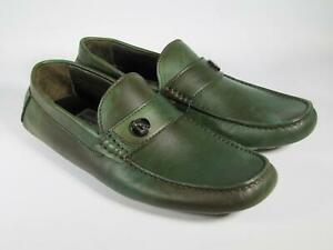 Testoni Men green leather moccasins driving loafers 8 UK/ 9 US NEW