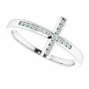 0.12 Ct Natural Diamond 14K Solid White Gold GGL Certified Cross Style Jewelry