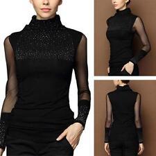 Sexy Women Diamonds Stud Mesh Sleeves Turtleneck Blouse Slim Long Sleeve Tops LG