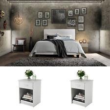 White Bedroom Set Queen Size 3 Piece Furniture Modern Platform Bed 2 Nightstands
