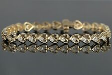 14K Yellow Gold 29 Round 1.75ct Diamond 7'' Heart Love Tennis Bracelet