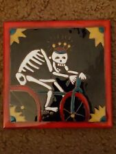 Skeleton Bike Rider Bicycle Art Tile Elaine Cain Day of the Dead 6X6 Halloween