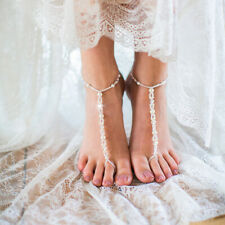 Women Pearl Barefoot Sandal Anklet Foot Chain Toe Ring Beach Ankle Bracelet Ho