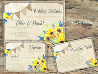 PERSONALISED RUSTIC BUNTING & LACE SUNFLOWER WEDDING INVITATIONS PACKS OF 10