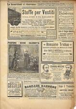 Stampa antica pubblicità KALODERMA ANESONE TRIDUO ecc 1893 Old antique print
