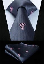 Mens Elephant Tie & Pocket Square -silver grey pink handkerchief silk necktie