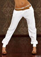 women's Chino Style Cuffed Ladies Trousers Pants White Pants UK STOCK 8,10,12