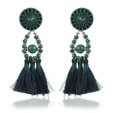 NEW GREEN RHINESTONE CRYSTAL TASSEL  FRINGE  EARRINGS LADIES GIFT GTG2