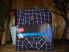 HANES MENS WOVEN PAJAMA SHIRT AND PANTS SET SIZE 2XL CHEST RED BLUE PLAID NEW
