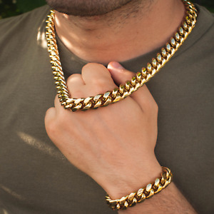 14k Yellow Gold Miami Cuban Link Choker/Bracelet Chain Bracelet Bundle