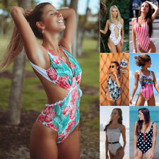 2020 Women Stripe Floral Backless Bikini Bra Padded Push up Beachwear Swimwear