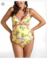 Pez D'Or Yellow Pineapple Waikiki Maternity One-Piece Swimsuit, NWOT, Small