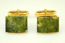 VINTAGE RECTANGULAR GENUINE JADE CUFFLINKS 5/8 INCH by 1/2 INCH