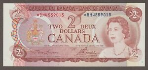 BANK OF CANADA 1974 TWO DOLLAR ASTERISK RELACEMENT NOTE BM4559015 GEM UNC