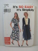 It's So Easy Simplicity 9740 Misses Dress Size A (10-20) 2 Sleeve Lengths 1995